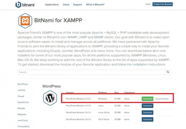 wordpress windows版をdownload