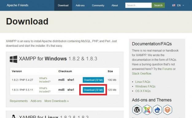 XAMPP Windows版インストーラーをダウンロード