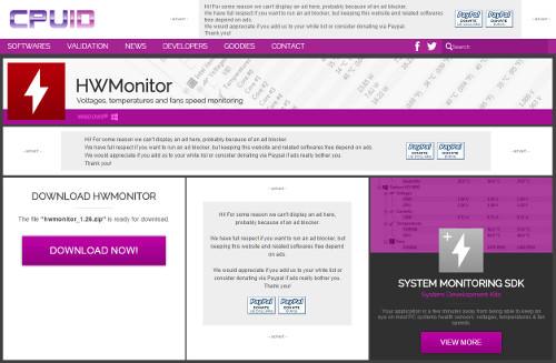 CPUの温度やファンの回転数を測定する無料ソフト HWMonitor